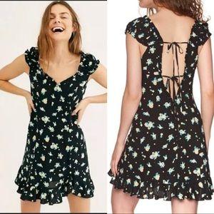 Free People Like a Lady Lemon Print Mini Dress L